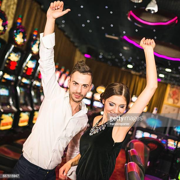 Happiness couple winning at Casino
