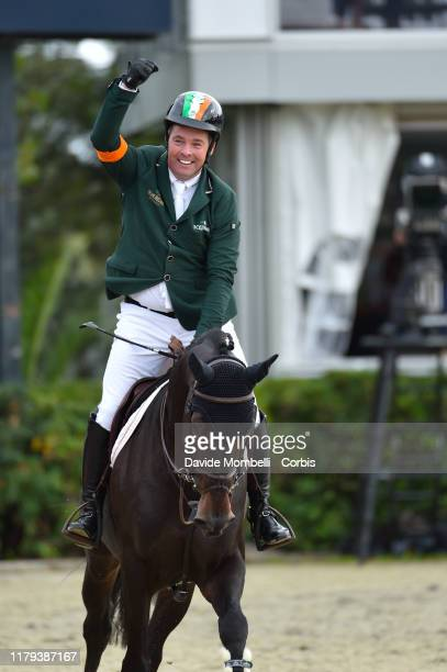 happiness for Cian O'Connor riding PSG Final of Ireland during Longines FEI Jumping Nations Cup Final 2019 Competición Final on October 6 2019 in...