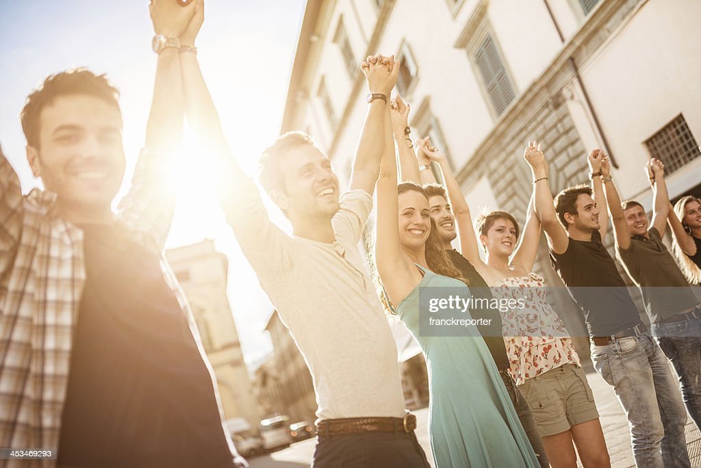 happiness friends on the city : Stock Photo