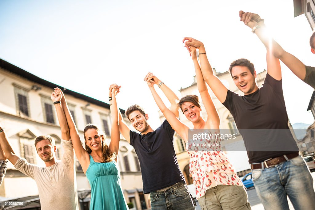 Happiness friends volunteer on the city : Stock Photo