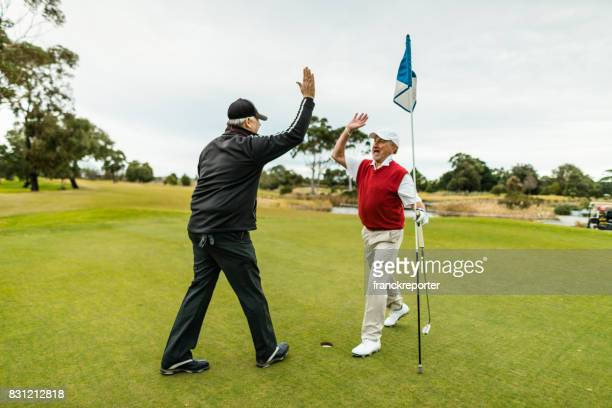 happiness golf player in the golf club