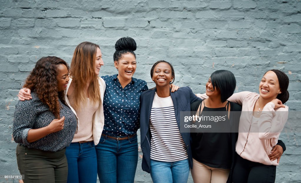 Happiness happens when we stand together : Stock Photo