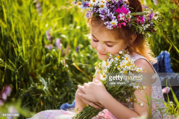 happiness in nature - chamomile tea stock photos and pictures