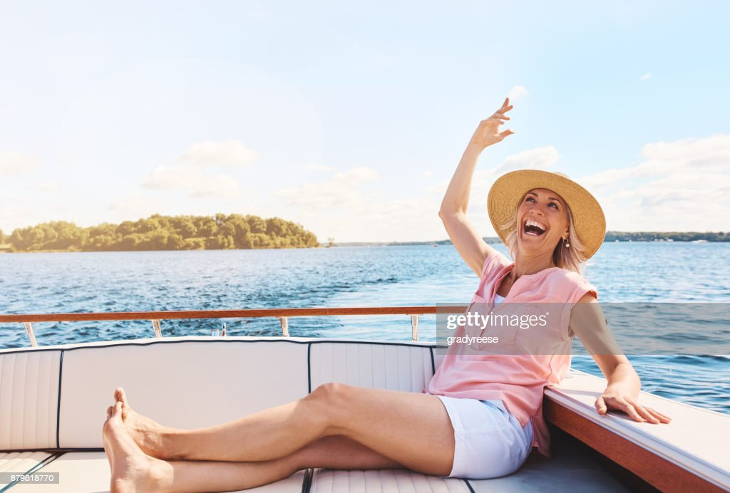 Happiness inspired by a boat ride : Stock Photo
