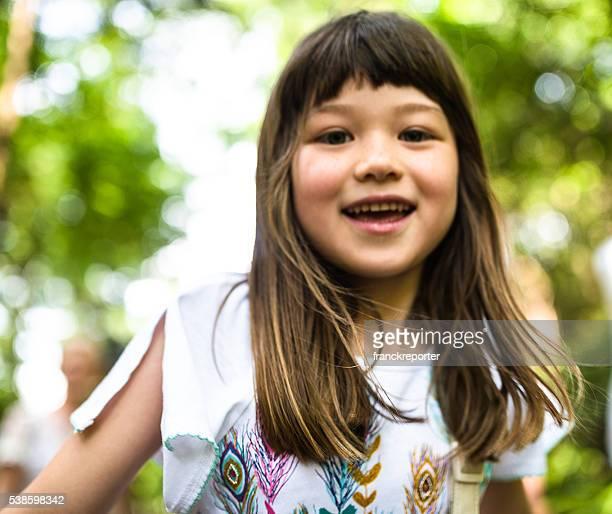 Felicidade japonês Retrato de Menina de raça mista