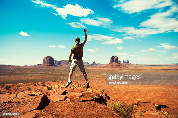 Happiness man on Monument Valley - tribal navajo National park