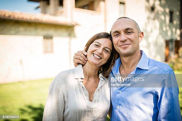 happiness mature couple embracing