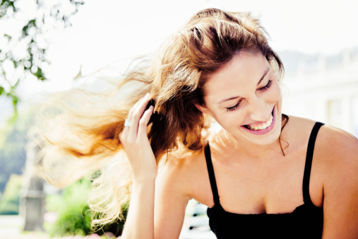 Happiness, Natural Laughing Woman in Summer Park Portrait - gettyimageskorea