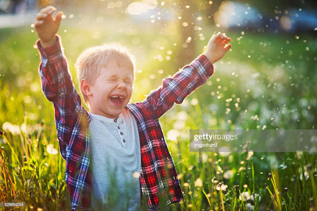 Happiness of a little boy in dandelion field : Stock Photo
