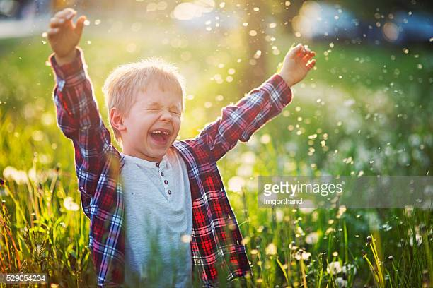 Happiness of a little boy in dandelion field