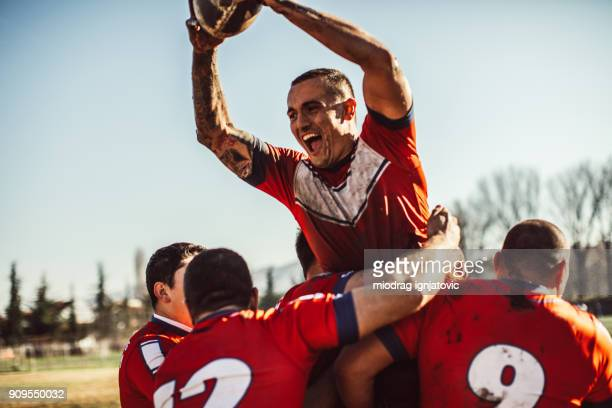 happiness on field - rugby stock pictures, royalty-free photos & images