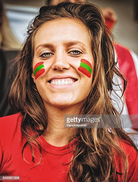happiness portugal supporter woman at the stadium