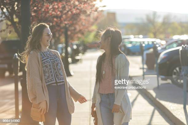 Happiness - Spring Evening in The City Young adult College Age Female Best Friends