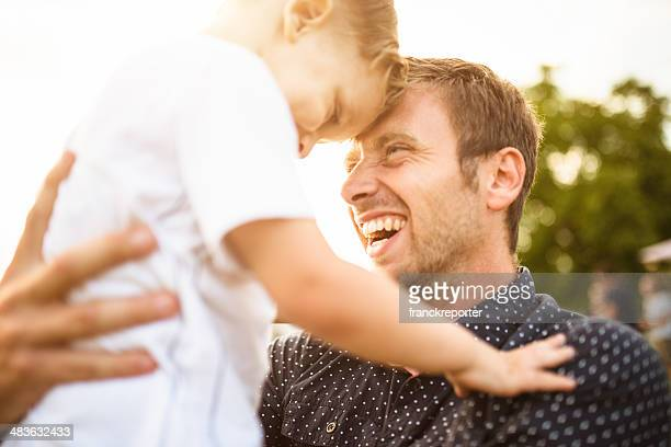 happiness young father with his son have fun