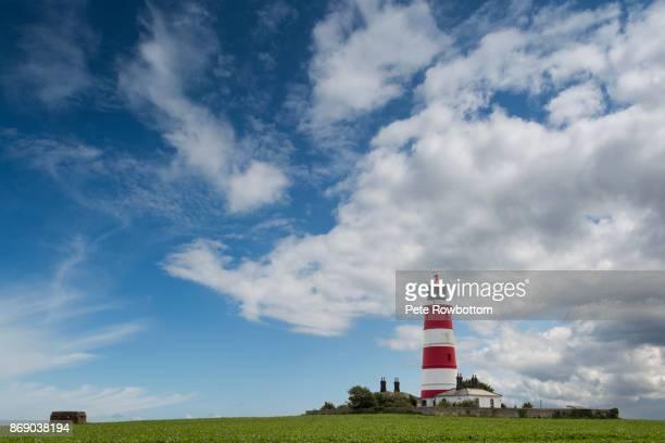 happisburgh lighthouse - norfolk east anglia - fotografias e filmes do acervo