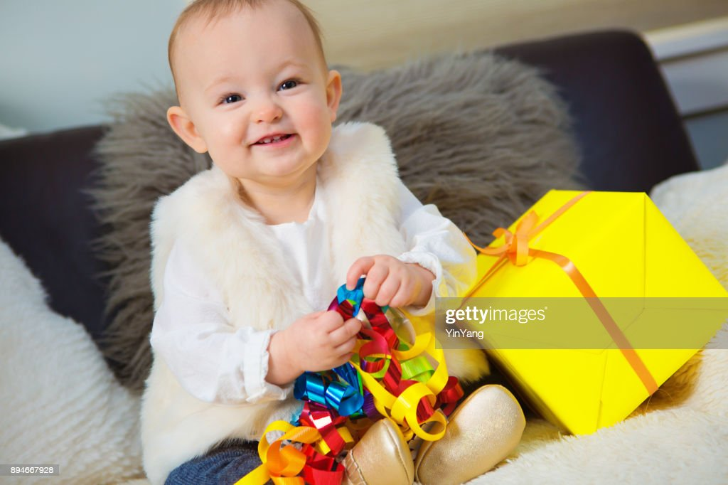 Happy 1 Year Old Baby Birthday Party With Present Stock Photo