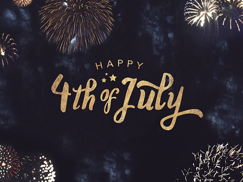 Happy 4th of July Text with Gold Fireworks in Night Sky 933052724