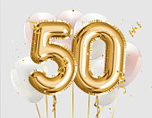 Happy 50th birthday gold foil balloon greeting background. 50 years anniversary logo template- 50th celebrating with confetti.