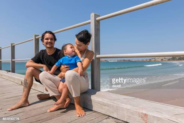 Happy Aboriginal Australian Family at the Beach