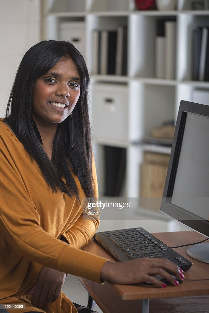 Happy Aboriginal Woman at Work : Stock Photo