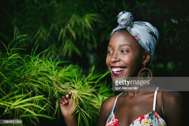 Happy african-american young woman