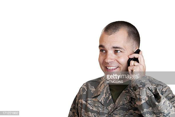 Happy Airman on Cell Phone