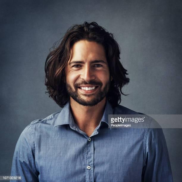 happy and handsome - pelo facial imagens e fotografias de stock