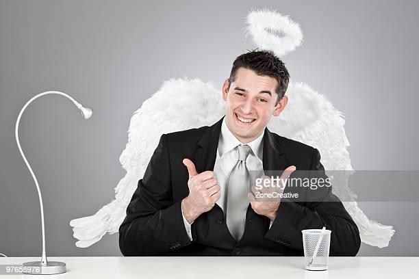 happy angel businessman portrait