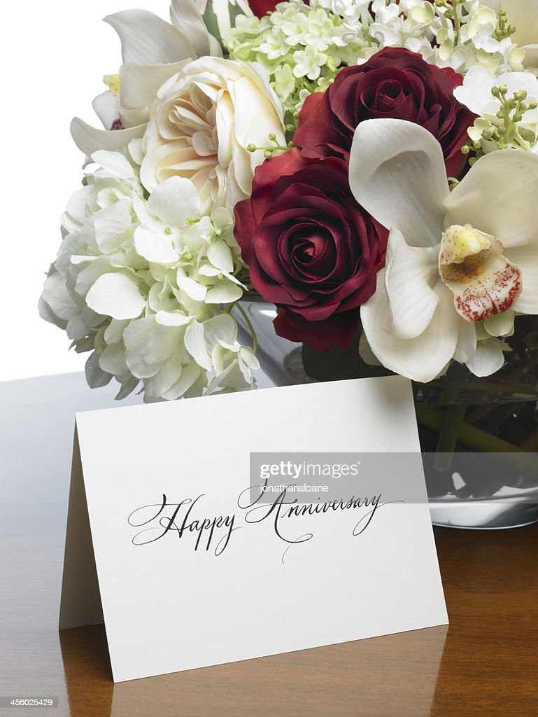 Happy Anniversary Card With Romantic Flower Bouquet Stock Photo ...