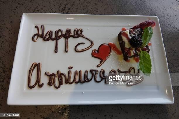 Happy Anniversary dessert plate