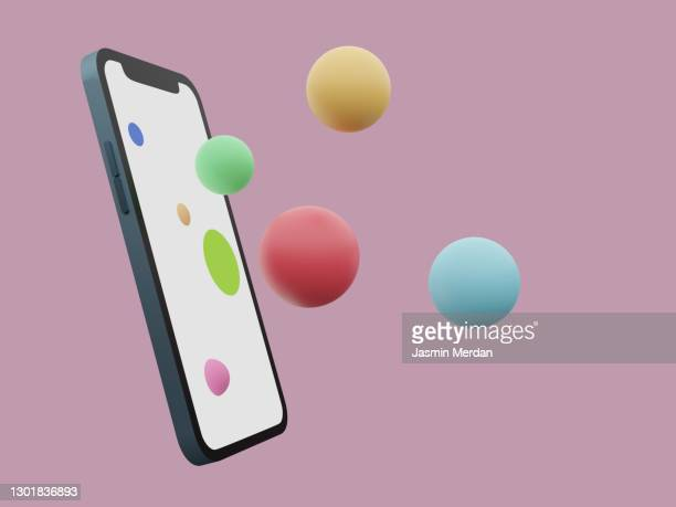happy apps out of the smartphone - ball stock pictures, royalty-free photos & images