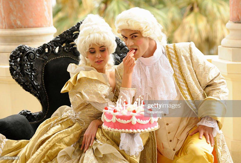 Happy Aristocratic Birthday with Tempting Cake : Stock Photo
