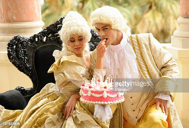 happy aristocratic birthday with tempting cake - marie antoinette stock pictures, royalty-free photos & images