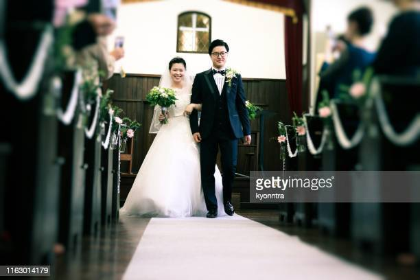 happy asian bride and groom - wedding ceremony stock pictures, royalty-free photos & images
