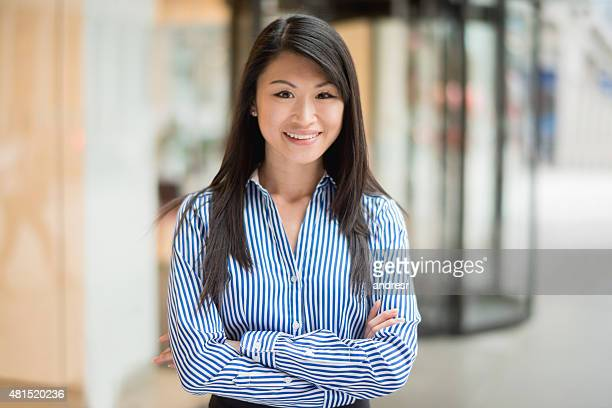 Happy Asian business woman
