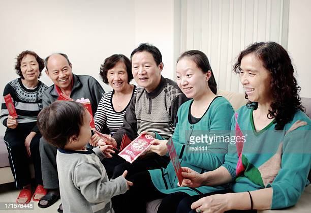 Happy Asian family, in the new year