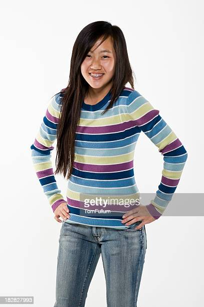 happy asian teenage girl - beautiful girl smile braces vertical stock photos and pictures