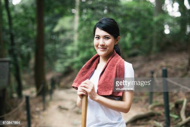 Happy Asian Woman Hiking