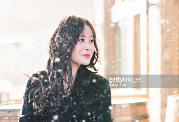 happy asian women in winter day. - solo adulti foto e immagini stock