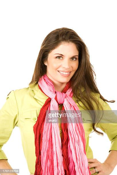 Happy attractive adult Hispanic Woman red pinkscarf isolated