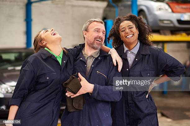 happy  auto mechanic team