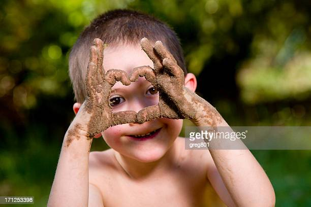 happy baby and dirty hands xxxl - dry mouth stock photos and pictures