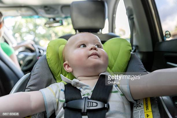 Happy Baby boy Secure in Baby Car Seat, Selfie
