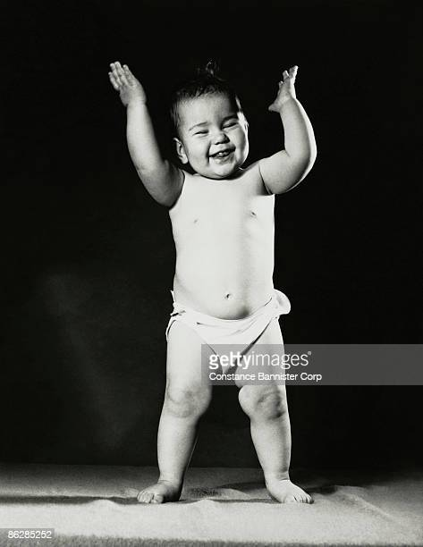 happy baby laughing - constance bannister stock photos and pictures