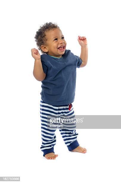Happy Baby Strecke die Arme, Blick nach oben, Lächeln