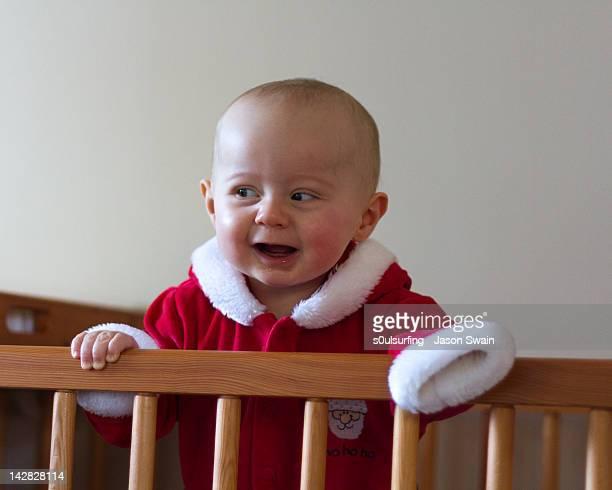 happy baby santa - s0ulsurfing stock-fotos und bilder