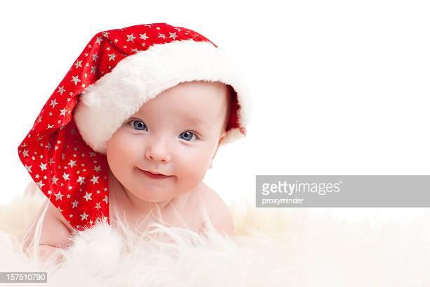 Bebé feliz com Chapéu do Pai Natal