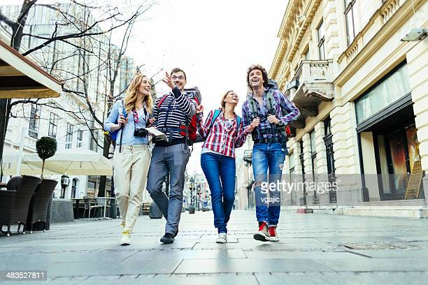 happy backpackers in the city. - belgrade serbia stock pictures, royalty-free photos & images