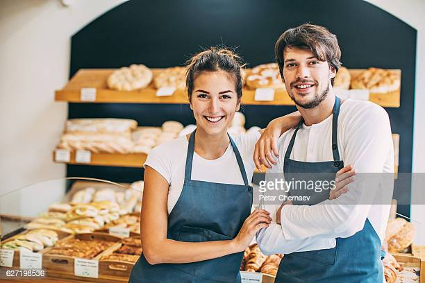 Happy bakery owners