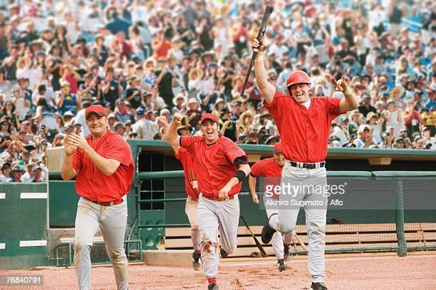 Happy baseball players